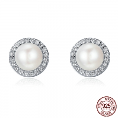 925 Sterling Silver Classic Round Sparkling CZ Fresh Water Pearl Stud Earrings for Women Sterling Silver Jewelry SCE122