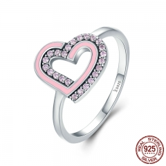 Romantic 925 Sterling Silver Glittering CZ Double Heart Female Finger Ring Women Wedding Engagement Jewelry SCR213