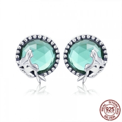 New Collection Romantic 925 Sterling Silver Fairy Story Light Green CZ Stud Earrings Women Sterling Silver Jewelry SCE383