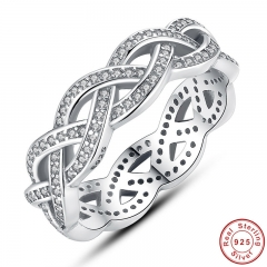 Authentic 925 Sterling Silver Sparkling BRAIDED Pave RING for Women Wedding Luxury Exaggerated Big Twisted Jewelry PA7111