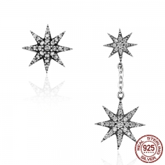 Trendy 100% 925 Sterling Silver Sparkling Star & Snowflake Drop Earrings for Women Authentic Silver Jewelry Bijoux SCE108 EARR-0186