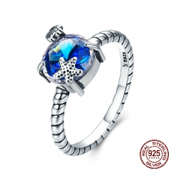 100% 925 Sterling Silver Seaside Scroll Blue Crystal Stone Starfish Finger Ring for Women Sterling Silver Jewelry SCR281