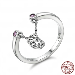 New Design Authentic 925 Sterling Silver Flower Rose Story Rose Dangle Ring Women Sterling Silver Jewelry Gift SCR148