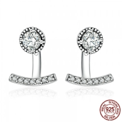 Authentic 925 Sterling Silver Abstract Elegance, Clear CZ Stud Earrings for Women Sterling Silver Jewelry Bijoux PAS505