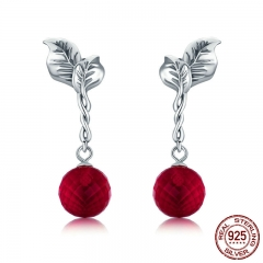 Summer Collection 100% 925 Sterling Silver Summer Fruit Red Crystal Drop Earrings for Women Fine Silver Jewelry SCE356 EARR-0353