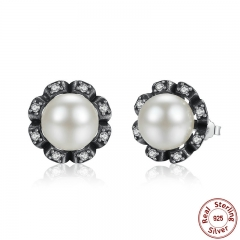 Original 925 Sterling Silver Everlasting Grace Stud Earrings Fresh Water Cultured Pearl for Women Jewelry PAS424