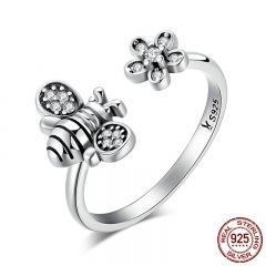Hot Sale 925 Sterling Silver Cute Bee & Poetic Daisy Flower Open Finger Ring for Women Sterling Silver Jewelry SCR086