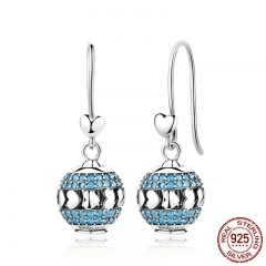 Exclusive Design 100% 925 Sterling Silver Heart To Heart Blue Crystals Drop Earrings Set With Beads DIY Fine Jewelry