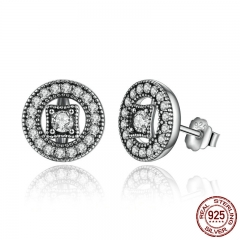 Authentic Real 925 Sterling Silver Vintage Allure, Clear CZ Stud Earrings Women Wedding Jewelry Femme Brincos PAS485