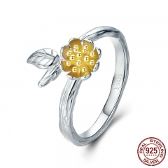 100% 925 Sterling Silver Yellow Daisy Flower Leaves Adjustable Finger Rings for Women Sterling Silver Jewelry SCR302