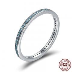 Authentic 925 Sterling Silver Luminous CZ Light Blue Round Female Finger Rings for Women Engagement Jewelry SCR229