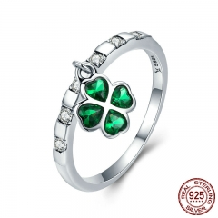 925 Sterling Silver Day Ring Lucky Four Leaf Clover Petal Dangle Female Ring for Women Sterling Silver Jewelry SCR271