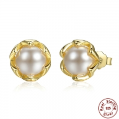 Authentic 925 Sterling Silver Simulated Pearl Stud Earrings Gold Color Jewelry for Women Party PAS419
