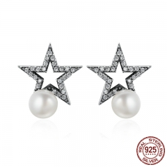 Authentic 925 Sterling Silver Sparkling Star CZ & Fresh Water Pearl Female Stud Earrings for Women Fine Jewelry SCE176