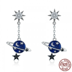High Quality 100% 925 Sterling Silver Sparkling CZ Moon and Star Drop Earrings for Women Sterling Silver Jewelry SCE348