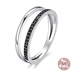 Genuine 925 Sterling Silver Double Circle Black Clear CZ Stackable Finger Ring for Women Fine Silver Jewelry Gift SCR082