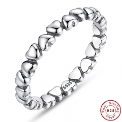925 100% Solid Sterling Silver Forever Love Heart Finger Ring Original Jewelry NewYear & Valentine's Day Gift PA7108