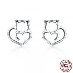Hot Sale Authentic 925 Sterling Silver Cute Cat Small Stud Earrings for Women Fashion Sterling Silver Jewelry SCE271 EARR-0265