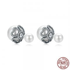 Authentic 925 Sterling Silver Exquisite Double Side Ball Flower Stud Earrings for Women Sterling Silver Jewelry SCE233