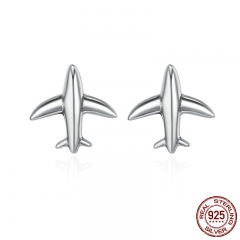 100% 925 Sterling Silver Exquisite Mini Airplane Aircraft Stud Earrings for Women Fashion Sterling Silver Jewelry SCE238