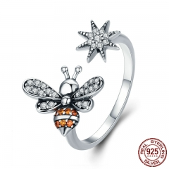 100% 925 Sterling Silver Bee with Snowflake Clear CZ Open Size Finger Rings for Women Wedding Engagement Jewelry SCR334