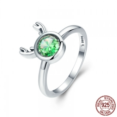 Fashion New 925 Sterling Silver Christmas Cute Deer Animal Finger Rings for Women Green Crystal Silver Jewelry SCR244