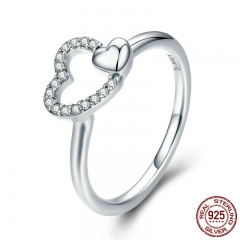 100% 925 Sterling Silver Romantic Heart to Heart AAA CZ Dangle Finger Ring for Women Wedding Engagement Jewelry SCR277
