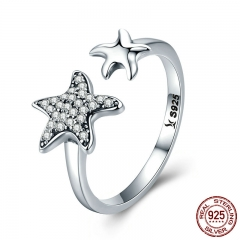 100% 925 Sterling Silver Trendy Star Sparkling Crystal CZ Finger Rings for Women Wedding Engagement Jewelry Gift SCR376 RING-0413