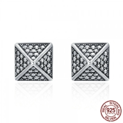 100% 925 Sterling Silver Exquisite Square & Spike CZ Female Stud Earrings for Women Sterling Silver Jewelry Gift SCE134