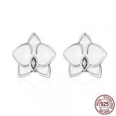 Authentic 925 Sterling Silver White Orchid White Enamel & Pink CZ Stud Earrings for Women Fine Jewelry Bijoux PAS515