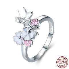 Romantic 100% 925 Sterling Silver The Flower Fairy & Pink CZ Crystal Finger Ring Women Sterling Silver Jewelry SCR362 RING-0409