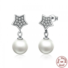 Authentic 925 Sterling Silver Star & Simulated Pearl Drop Earrings for Women Wedding Fine Jewelry SCE004