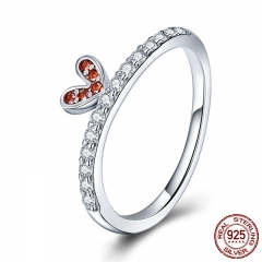 100% 925 Sterling Silver Wedding Heart Love Blooming Crystal CZ Finger Ring for Women Wedding Engagement Jewelry SCR419
