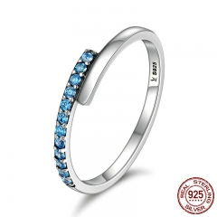 Genuine 100% 925 Sterling Silver Geometric Melody Blue Sparking CZ Finger Rings for Women Sterling Silver Jewelry SCR099