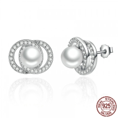 Elegant 925 Sterling Silver White Pearl with Push-back Stud Earrings For Women Wedding Fashion Jewelry SCE020