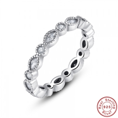 925 Sterling Silver Alluring Brilliant Marquise Stackable Finger Ring with Clear CZ Original Fine Jewelry PA7130