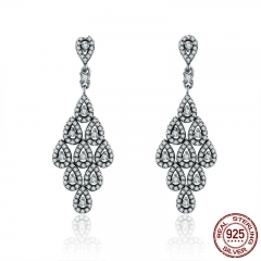 2018 Authentic 925 Sterling Silver Cascading Glamour Earrings, Clear CZ Earrings for Women Sterling Silver Jewelry PAS516