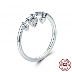 New Arrival 925 Sterling Silver Glittering Heart Clear CZ Anel Female Ring Women Wedding Engagement Jewelry SCR215