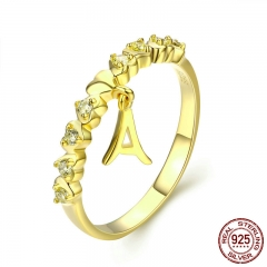 Real 925 Sterling Silver Gold Color Letter A and Heart Finger Ring for Women Anel Anniversary Engagement Jewelry SCR264