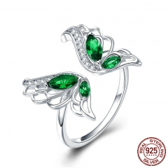 Trendy New 925 Sterling Silver Elegant Butterfly Clear CZ Finger Rings for Women Wedding Engagement Jewelry BSR007