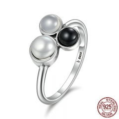 Fashion New 100% 925 Sterling Silver Bubble Fresh Water Pearl Finger Rings for Women Party Engagement Jewelry SCR100