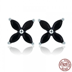 100% Authentic 925 Sterling Silver Small Clover Flower Black CZ Stud Earrings for Women Sterling Silver Jewelry SCE362