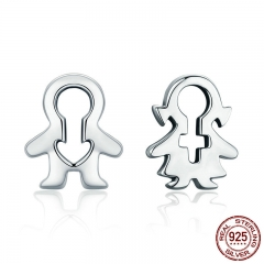 Hot Sale 100% 925 Sterling Silver Figure Boy And Girl Line Stud Earrings for Women Sterling Silver Jewelry S925 SCE326