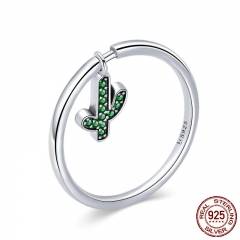100% 925 Sterling Silver Cactus Plant Dangle Finger Rings for Women Wedding Engagement Silver Ring Jewelry Gift SCR371 RING-0424
