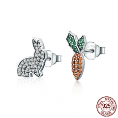 Animal Collection 925 Sterling Silver Cute Rabbit & Carrot Clear CZ Stud Earrings for Women Fashion Silver Jewelry SCE249