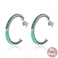 925 Sterling Silver Radiant Hearts Green Enamel & Clear CZ Hoop Earrings for Women Authentic Silver Jewelry Bijoux SCE209