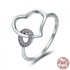 New Arrival Real 100% 925 Sterling Silver Heart Round Circle Finger Ring Women Wedding Band Engagement Jewelry SCR160