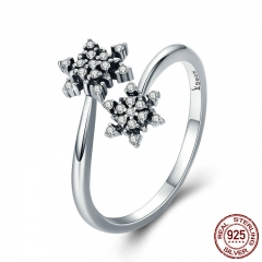 High Quality 925 Sterling Silver Dazzling CZ Snowflake Open Size Finger Rings for Women Sterling Silver Jewelry SCR333
