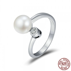 Genuine 925 Sterling Silver Gently As You Fresh Water Pearl Clear CZ Finger Rings for Women Wedding Jewelry Gift SCR172