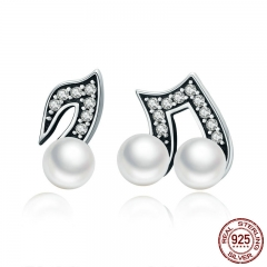 100% 925 Sterling Silver Hiphop Style Melody Small Stud Earrings for Women Clear CZ Luxury Silver Jewelry Brincos SCE201